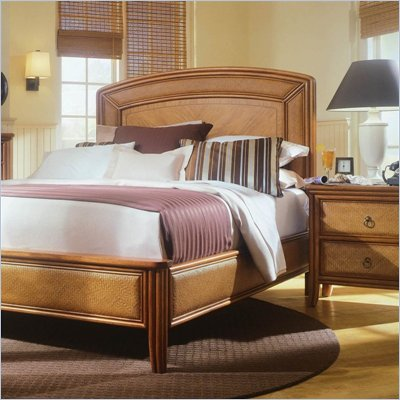 American Drew Antigua Low Profile Wood Panel Bed 2 Piece Bedroom Set in Toasted Almond