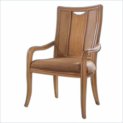 American Drew Antigua Collection Splat Back Casual Arm Chair in Toasted Almond Finish
