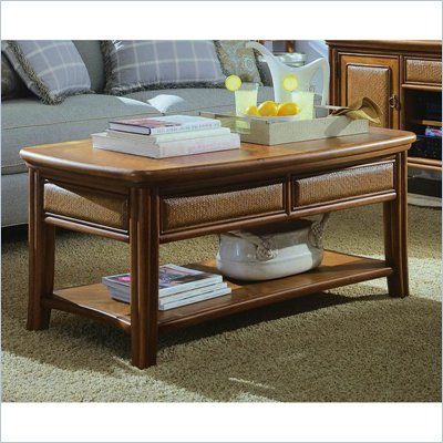 American Drew Antigua Rectangular Wood Top Cocktail Table in Almond Finish