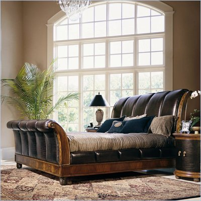 American Drew Bob Mackie Classics Leather Sleigh Bed in Burnished Nutmeg Finish