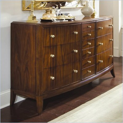 American Drew Bob Mackie Signature 10 Drawer Triple Dresser in Rosewood