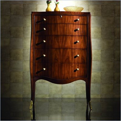 American Drew Bob Mackie Home Signature 5 Drawer Leg Chest in Rosewood Finish