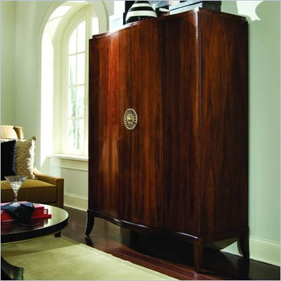 American Drew Bob Mackie Signature Serpentine TV Armoire in Rosewood Finish