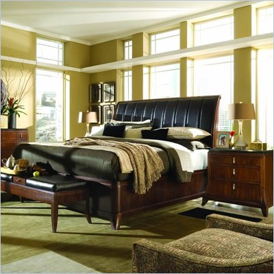 American Drew Bob Mackie Signature Wood Sleigh Bed 3 Piece Bedroom Set in Rosewood