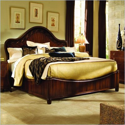 American Drew Bob Mackie Signature Ribbon Panel Bed in Rosewood Finish