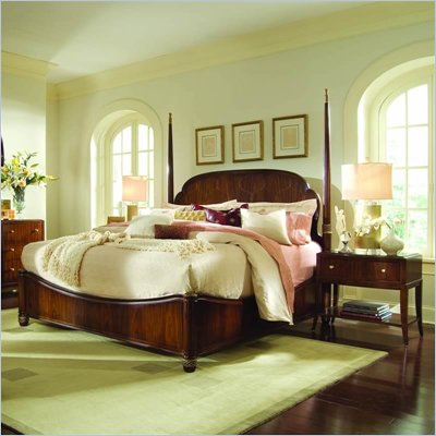 American Drew Bob Mackie Signature Wood Poster Bed 3 Piece Bedroom Set in Rosewood