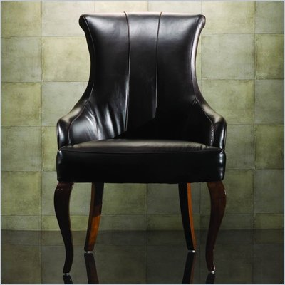 American Drew Bob Mackie Signature Leather Formal Arm Chair in Rosewood Finish