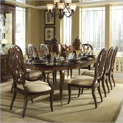 American Drew Bob Mackie Signature Oval Formal Dining Set in Cherry Finish
