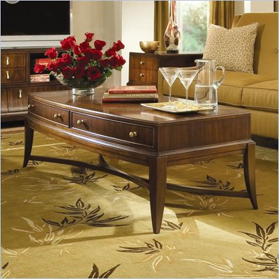 American Drew Bob Mackie Signature Rectangle Cocktail Table in Rosewood Finish