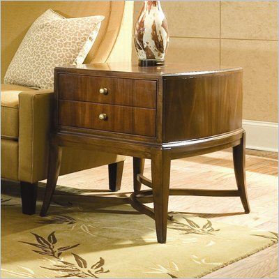 American Drew Bob Mackie Signature Rectangle End Table in Rosewood Finish