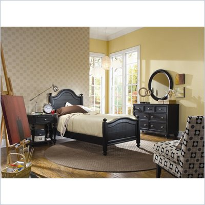 American Drew Camden Black Wood Panel Bed 4 Piece Bedroom Set