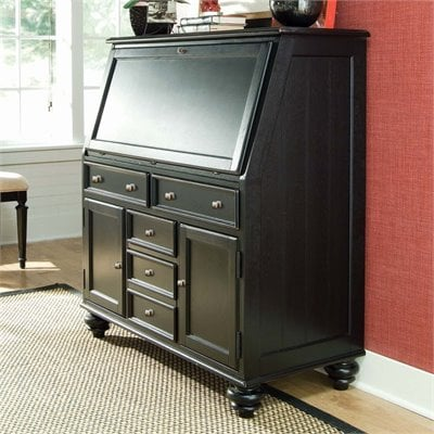 American Drew Camden Black Drop Lid Work Station