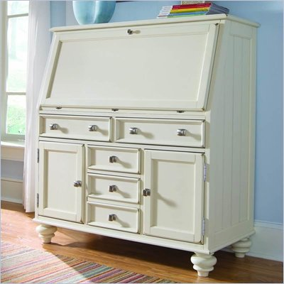 American Drew Camden White Drop Lid Work Station