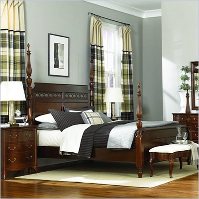 American Drew Cherry Grove Queen Poster Bed in Mid Tone Brown