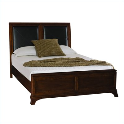 American Drew Essex Leather Accent Queen Bed in Mink