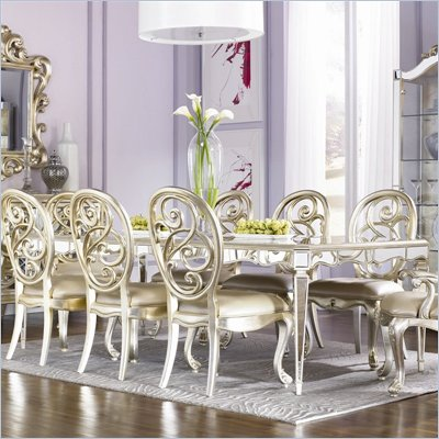 American Drew Jessica McClintock Couture Formal Dining Table in Silver Leaf