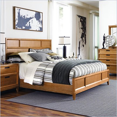 American Drew Sedona Panel California King Bed in Scrubbed Dusty Oak