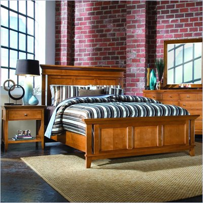 American Drew Sterling Pointe Wood Panel Bed 3 Piece Bedroom Set in Maple
