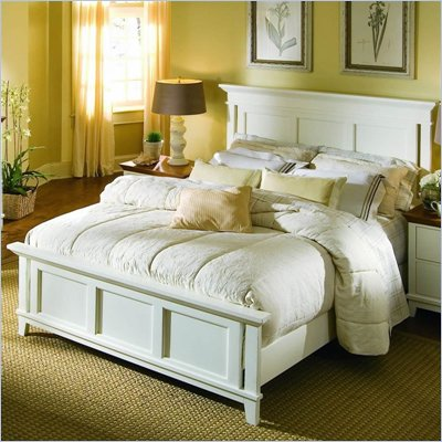 American Drew Sterling Pointe Off-White Wood Panel Bed 4 Piece Bedroom Set