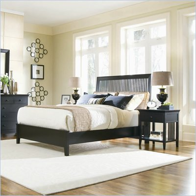 American Drew Sterling Pointe Black Wood Slat Bed 3 Piece Bedroom Set