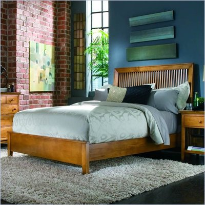 American Drew Sterling Pointe Slat Bed in Maple Finish