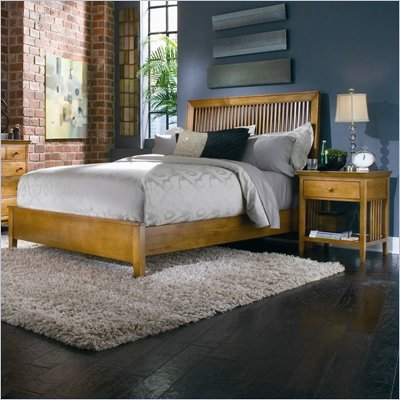 American Drew Sterling Pointe Wood Slat Bed 2 Piece Bedroom Set in Maple Finish