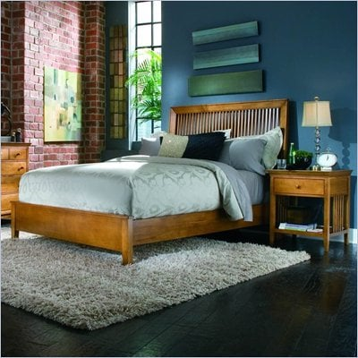 American Drew Sterling Pointe Wood Slat Bed 3 Piece Bedroom Set in Maple