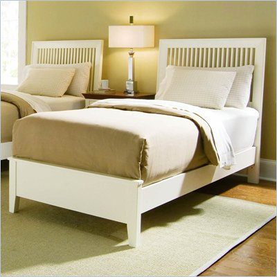 American Drew Sterling Pointe Slat Bed in Off-White Finish