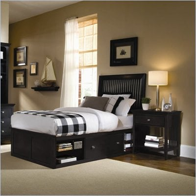 American Drew Sterling Pointe Wood Storage Platform Bed in Black 2 Piece Bedroom Set