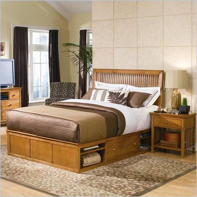 American Drew Sterling Pointe Wood Storage Platform Bed in Maple 2 Piece Bedroom Set