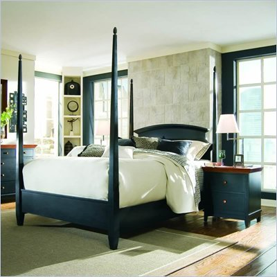American Drew Sterling Pointe Black Wood Poster Bed 3 Piece Bedroom Set