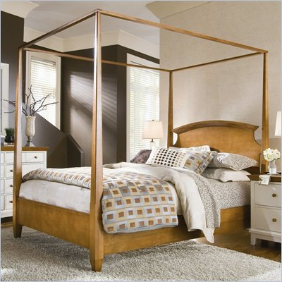 American Drew Sterling Pointe Wood Poster Bed 2 Piece Bedroom Set in Maple Finish