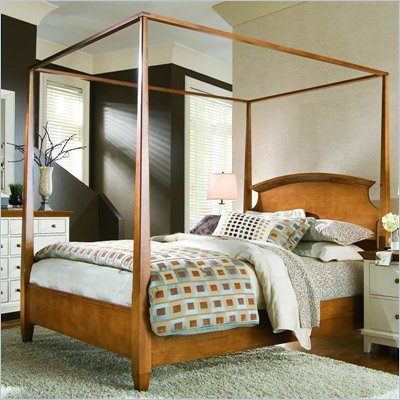 American Drew Sterling Pointe Wood Poster Bed 3 Piece Bedroom Set in Maple