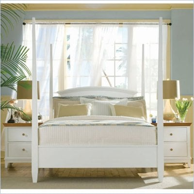 American Drew Sterling Pointe Poster Bed in Off-White Finish