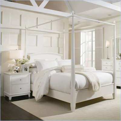 American Drew Sterling Pointe Off-White Wood Poster Bed 3 Piece Bedroom Set