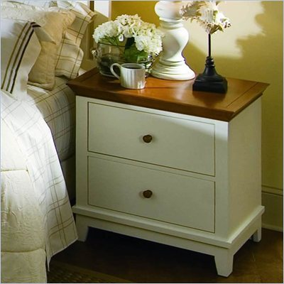 American Drew Sterling Pointe Two Drawer Nightstand in Off-White