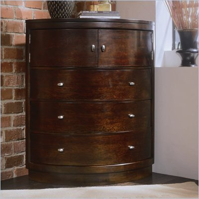 American Drew Tribecca 3 Drawer Corner Chest in Root Beer Finish