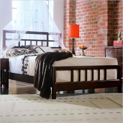 American Drew Tribecca Modern Wood Slat Bed 3 Piece Bedroom Set in Root Beer Finish