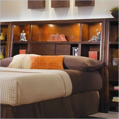 American Drew Tribecca Bookcase Headboard in Root Beer Finish