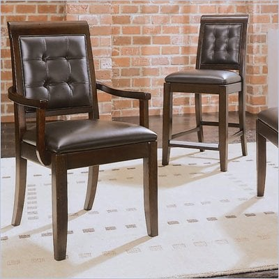 American Drew Tribecca Upholstered Leather Casual Arm Chair in Root Beer Finish