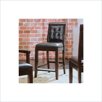 "American Drew Tribecca 25"" High Wooden Frame and Leather Counter Stool"