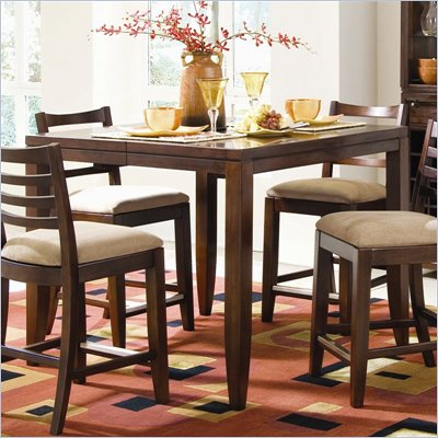 American Drew Tribecca Square Counter Height Dining Table in Root Beer Finish