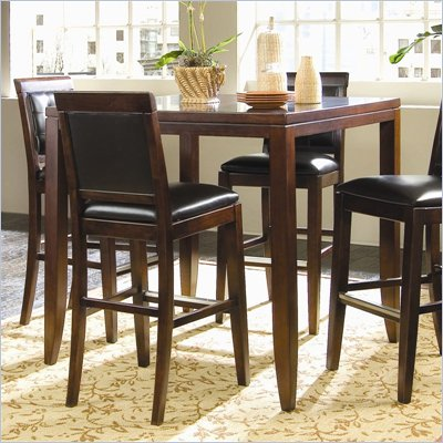 American Drew Tribecca Square Wood Top Bar Table in Root Beer Finish