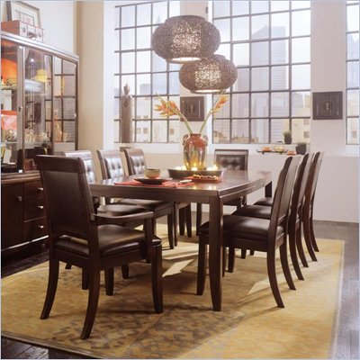 American Drew Tribecca Rectangular Formal Dining Set in Root Beer Brown Finish