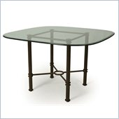 Pastel Furniture 48 Square Round Glass Casual Dining Table in Autumn Rust Finish