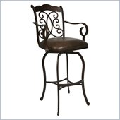 Pastel Furniture Athena Rust 30'' Swivel Arm Bar Stool in Florentine Coffee