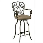 Pastel Furniture Magnolia Rust 30 Arm Swivel Bar Stool in Moccasin