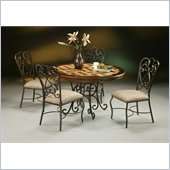 Pastel Furniture Magnolia Round Poly Travertine Dining Set