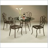 Pastel Furniture Oxford Glass Dining Set in Roletta Brown