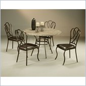 Pastel Furniture Oxford Poly Travertine Dining Set in Roletta Brown
